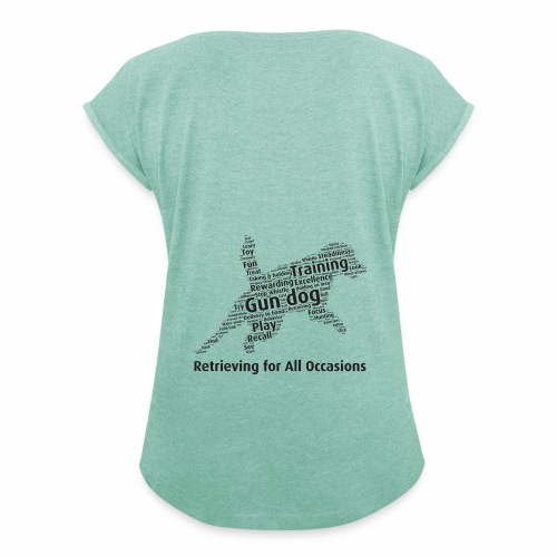Retrieving for All Occasions wordcloud svart - T-shirt med upprullade ärmar dam