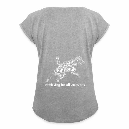 Retrieving for All Occasions wordcloud vitt - T-shirt med upprullade ärmar dam