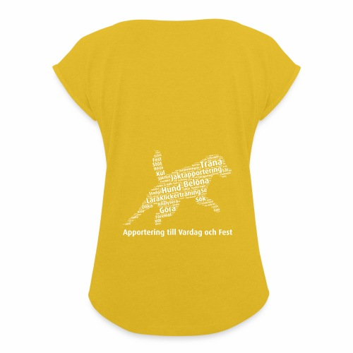 Apportering till vardag och fest wordcloud vitt - T-shirt med upprullade ärmar dam