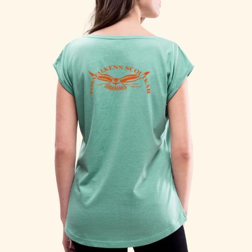 Tornfalkens scoutkår Logo - T-shirt med upprullade ärmar dam