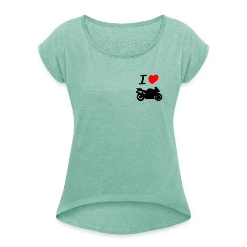 I LOVE MOTO - T-shirt à manches retroussées Femme