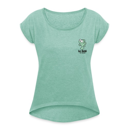 cartouche dos fd vert - T-shirt à manches retroussées Femme