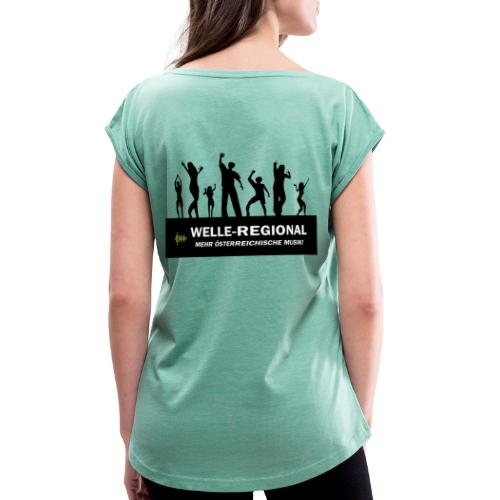Welle Party - Frauen T-Shirt mit gerollten Ärmeln