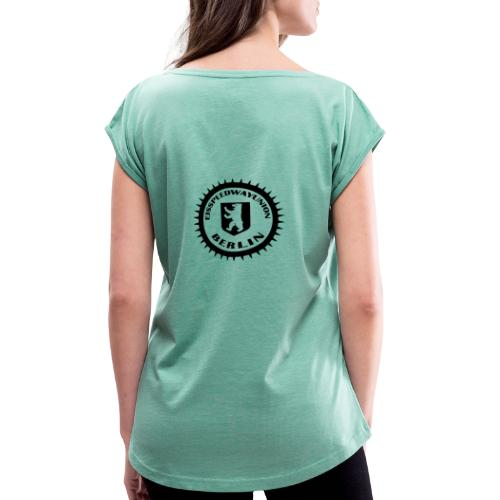 ESU Logo schwarz - Frauen T-Shirt mit gerollten Ärmeln