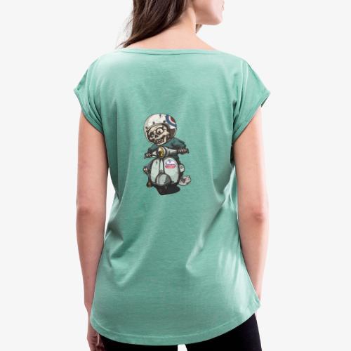 Skullterist - Solo Big Print - Frauen T-Shirt mit gerollten Ärmeln