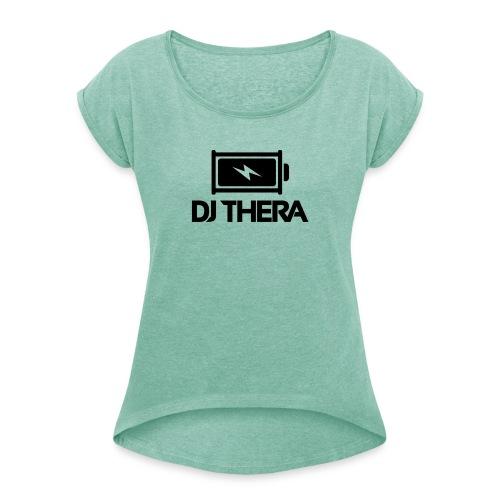 BLACK (1) - Vrouwen T-shirt met opgerolde mouwen