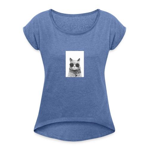 gato coool - Camiseta con manga enrollada mujer