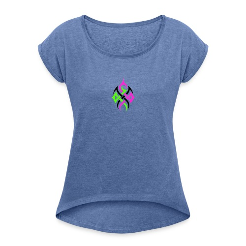 Logo ohne Hintergrund - Frauen T-Shirt mit gerollten Ärmeln