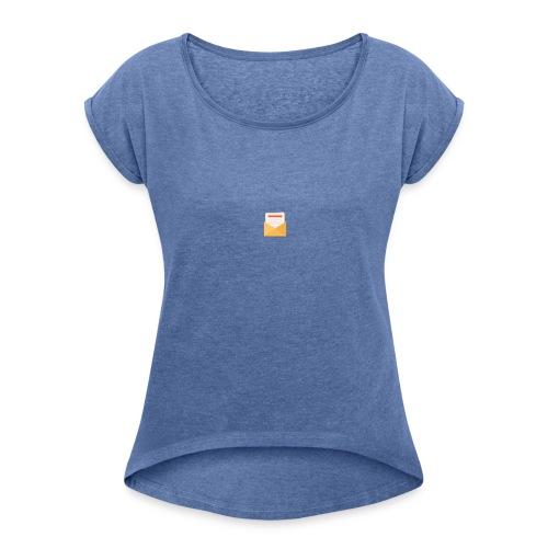 brev t-shirt - T-shirt med upprullade ärmar dam