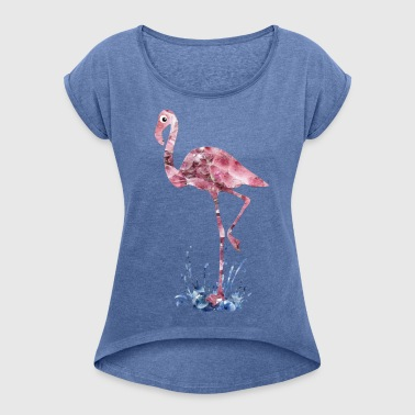 flamingo pink crystals Press - Women's T-shirt with rolled up sleeves