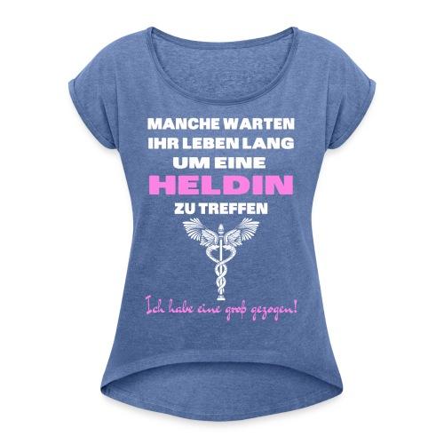 Krankenschwester Mama - Frauen T-Shirt mit gerollten Ärmeln