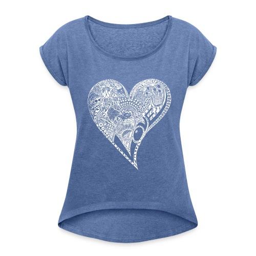 Heart white - Frauen T-Shirt mit gerollten Ärmeln