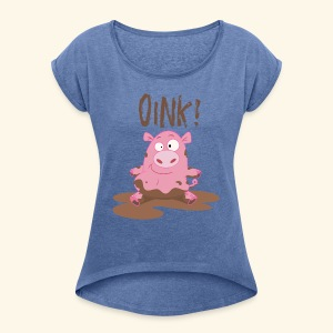 Toddlers & Kids Funny Piggy T Shirt - Women's T-shirt with rolled up sleeves