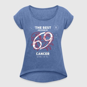 Cancer Zodiac Star Sign Birthday July red - Women's T-shirt with rolled up sleeves