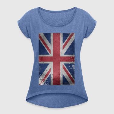 gb-bandiera Bretagna Inglese Union Jack distrutto Regno Unito - Maglietta da donna con risvolti