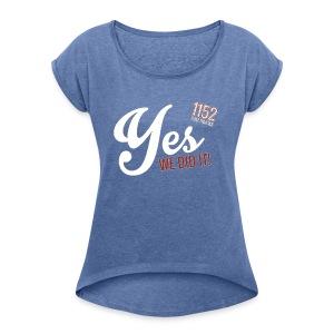 YES-1152.wh - Frauen T-Shirt mit gerollten Ärmeln
