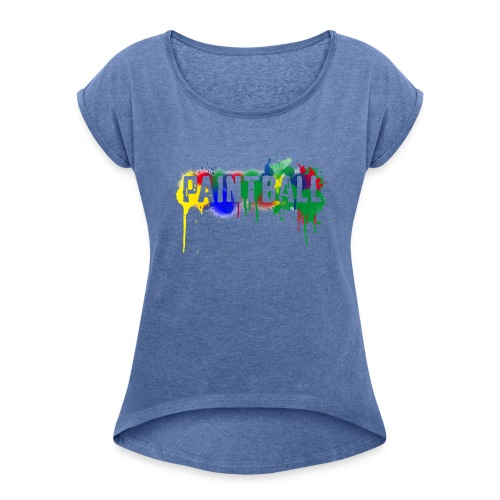 color_paintball - Frauen T-Shirt mit gerollten Ärmeln