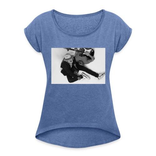Shoe Tee - T-shirt med upprullade ärmar dam