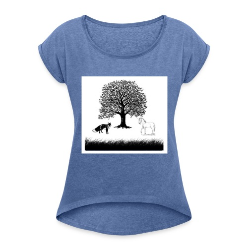 Fuchs vs Pferd - Frauen T-Shirt mit gerollten Ärmeln