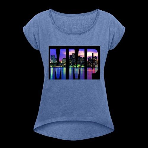 MonkyMusikProduktion Design MMP skyline - Frauen T-Shirt mit gerollten Ärmeln