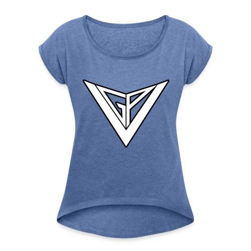 German Project Veritas Logo - Frauen T-Shirt mit gerollten Ärmeln