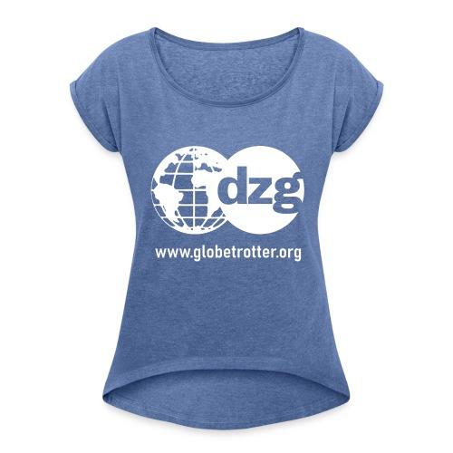 dzg logo Text white - Frauen T-Shirt mit gerollten Ärmeln