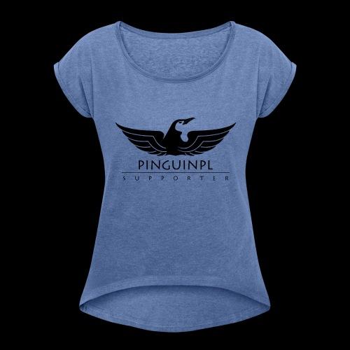 zwolennikiem Blackline - Koszulka damska z lekko podwiniętymi rękawami
