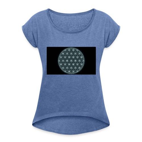 flower of life - Vrouwen T-shirt met opgerolde mouwen