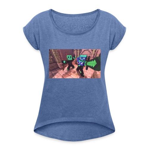 Minecarft - Frauen T-Shirt mit gerollten Ärmeln
