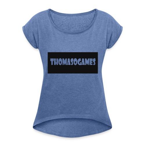 ThomasoGames Logo - Vrouwen T-shirt met opgerolde mouwen
