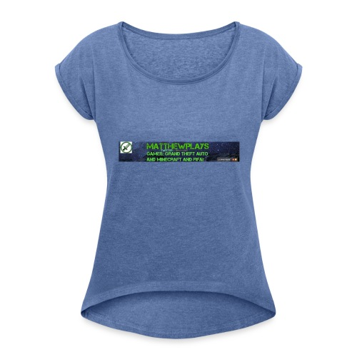 White YouTube Banner Tee - Women's T-Shirt with rolled up sleeves