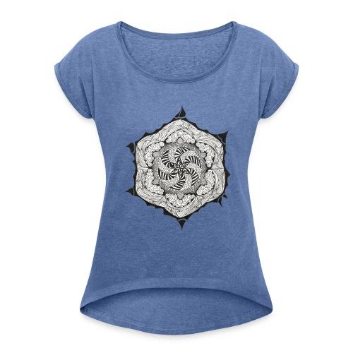 Doodle Stern - Frauen T-Shirt mit gerollten Ärmeln