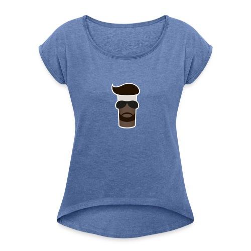 Sahne_Pudding Logo - Frauen T-Shirt mit gerollten Ärmeln