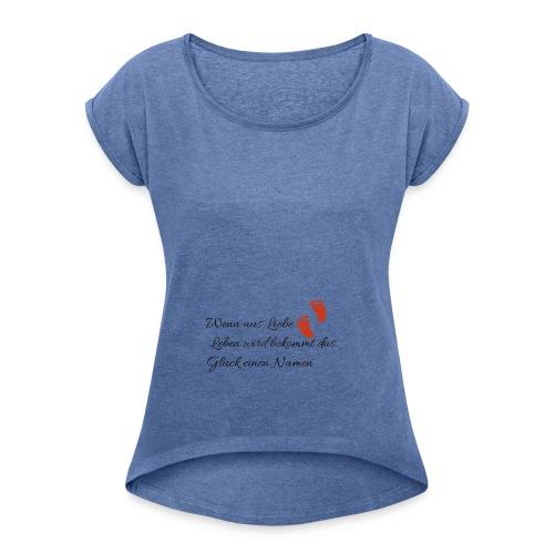 Schwanger - Frauen T-Shirt mit gerollten Ärmeln