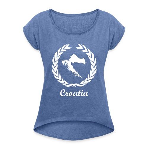 Connect ExYu Croatia White Edition - Frauen T-Shirt mit gerollten Ärmeln
