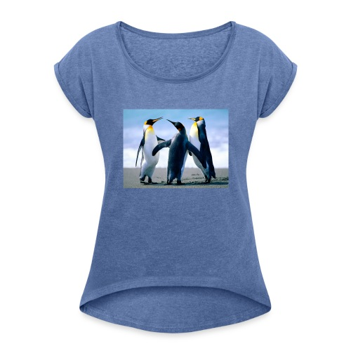 Penguins - Frauen T-Shirt mit gerollten Ärmeln