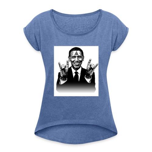 Barack Obama Illuminati - Frauen T-Shirt mit gerollten Ärmeln