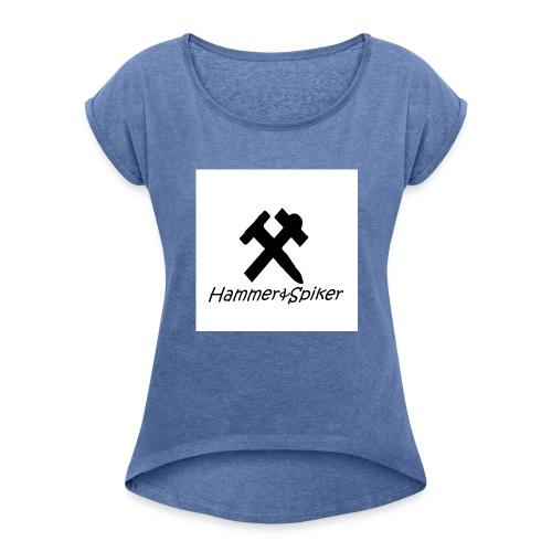 hammer og spiker logo v.1 - T-skjorte med rulleermer for kvinner