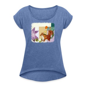 Autumn squirrel with conkers - Women's T-shirt with rolled up sleeves