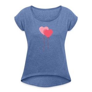 Coeurs ballons - T-shirt à manches retroussées Femme