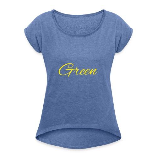 Green - Vrouwen T-shirt met opgerolde mouwen