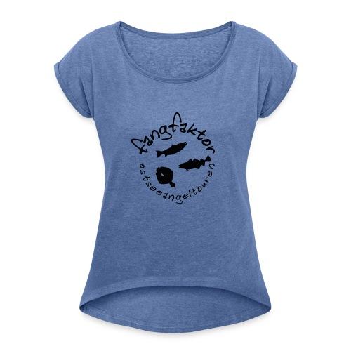 Fangfaktor Logo Schwarz - Frauen T-Shirt mit gerollten Ärmeln