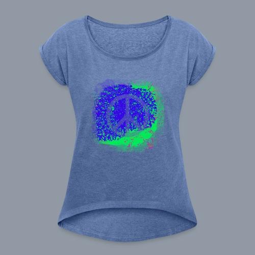 Spray Peace - Frauen T-Shirt mit gerollten Ärmeln
