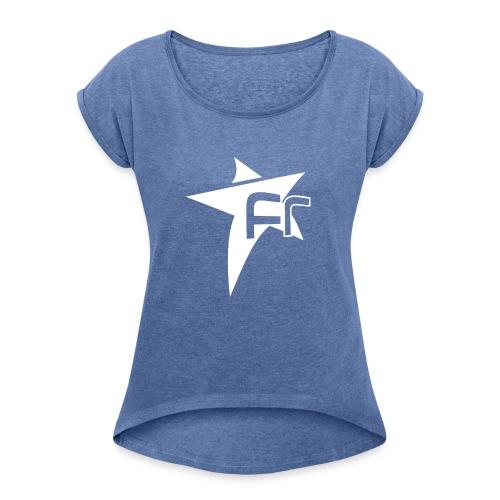 logoFR blanc - T-shirt à manches retroussées Femme