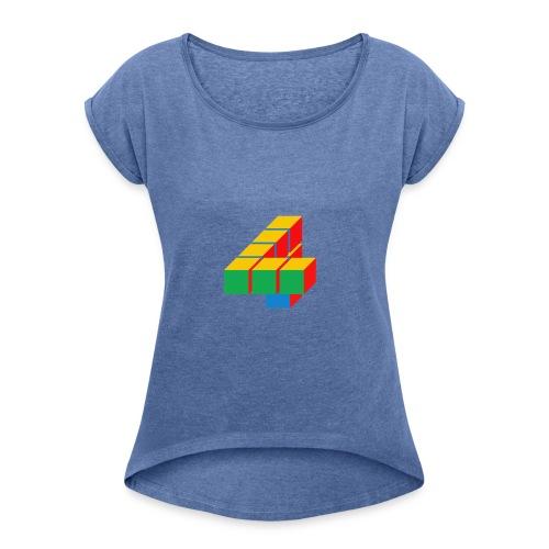 4 - Vrouwen T-shirt met opgerolde mouwen