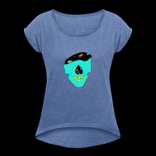 skull - Maglietta da donna con risvolti
