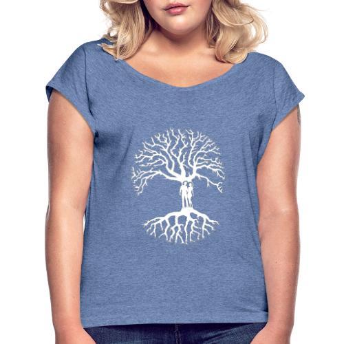 tree of life arbre de vie couple amoureux blanc - T-shirt à manches retroussées Femme