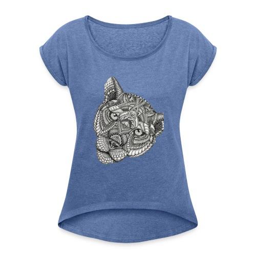 Lion - Vrouwen T-shirt met opgerolde mouwen