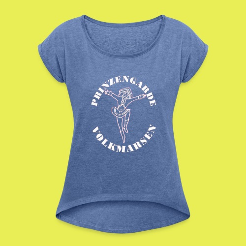 Logo_Prinzengarde_weiss - Frauen T-Shirt mit gerollten Ärmeln