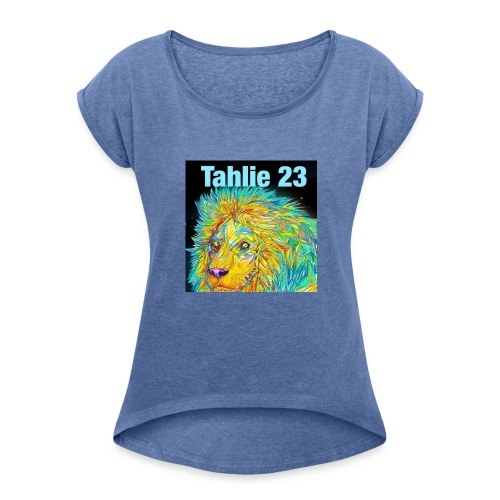 Tahlie 23 lion logo - Women's T-Shirt with rolled up sleeves